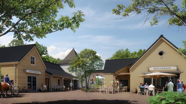 Der Dorfplatz des neuen Parks Landal De Waufsberg. Bild: Landal GreenParks