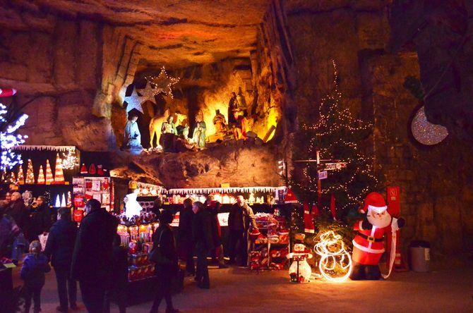 Unterirdischer Weihnachtsmarkt Valkenburg. Bild: Landal GreenParks